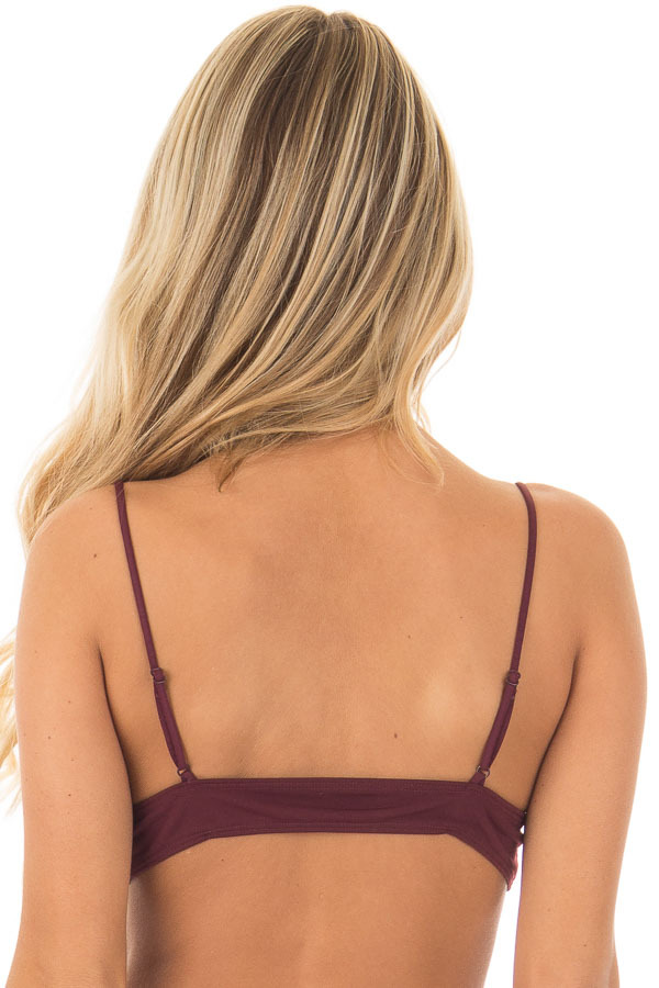 Burgundy Soft Jersey Knit Bralette with Lace Up Details back close up