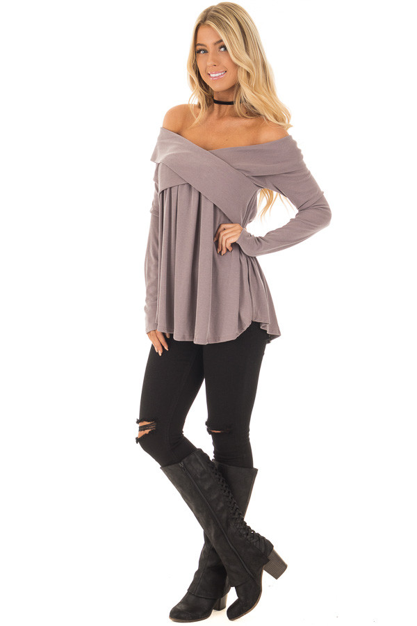 Mocha Off Shoulder Cross Over Ribbed Knit Top front full body