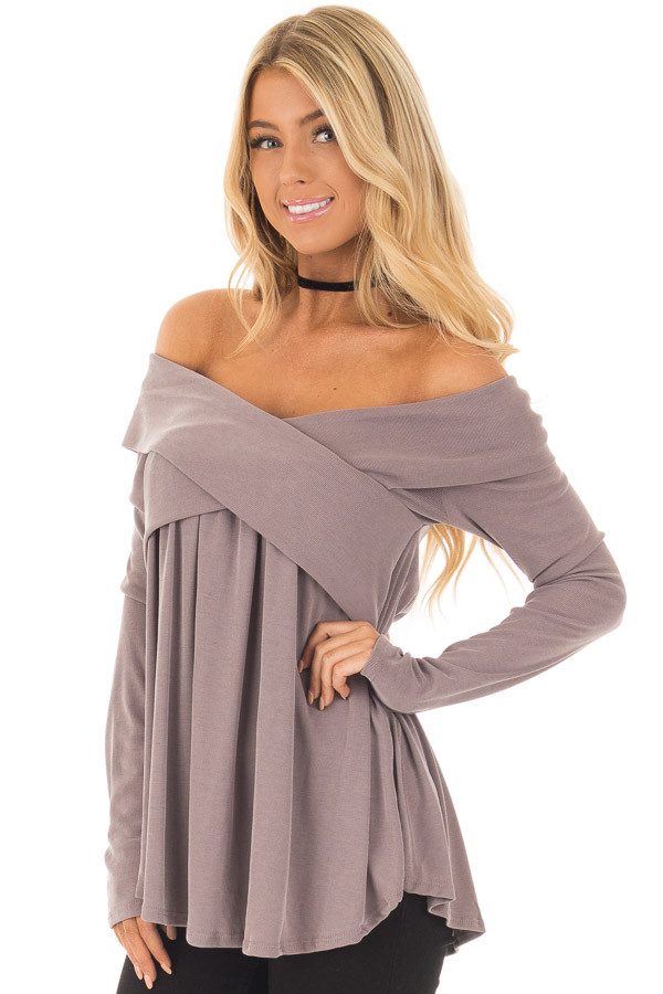 Mocha Off Shoulder Cross Over Ribbed Knit Top front close up