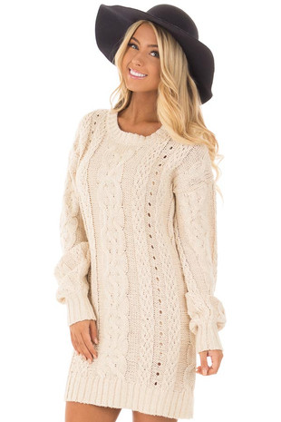 Tan Cable Knit Soft Bubble Long Sleeve Sweater Tunic Dress front close up