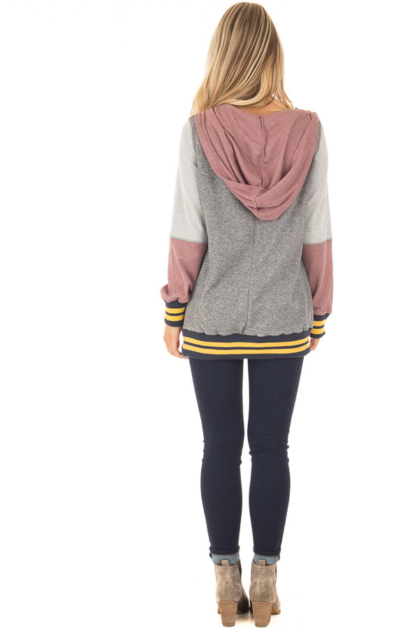 Grey Hoodie with Mauve Contrast and Striped Hem and Cuffs back full body
