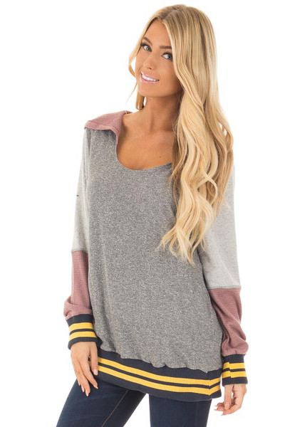 Grey Hoodie with Mauve Contrast and Striped Hem and Cuffs front close up