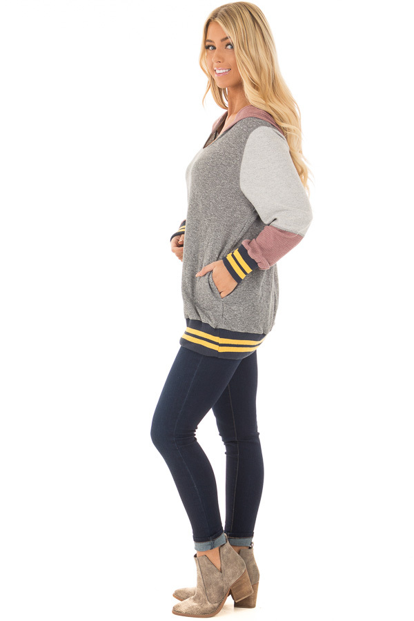 Grey Hoodie with Mauve Contrast and Striped Hem and Cuffs side full body