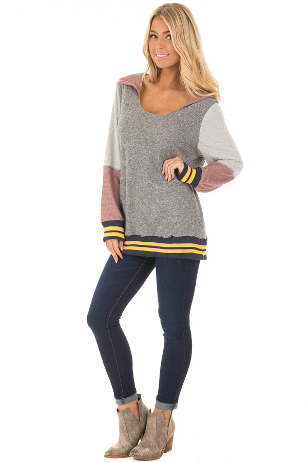 Grey Hoodie with Mauve Contrast and Striped Hem and Cuffs front full body