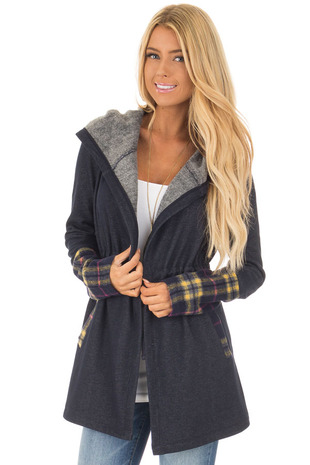 Navy Plaid Hooded Fleece Open Cardigan front close up