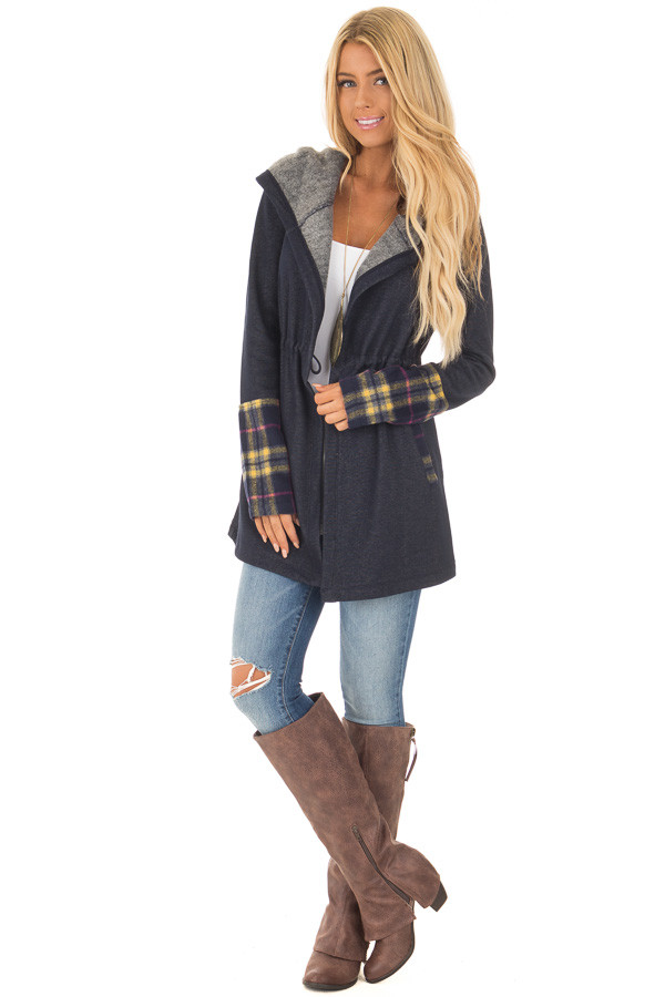 Navy Plaid Hooded Fleece Open Cardigan - Lime Lush Boutique