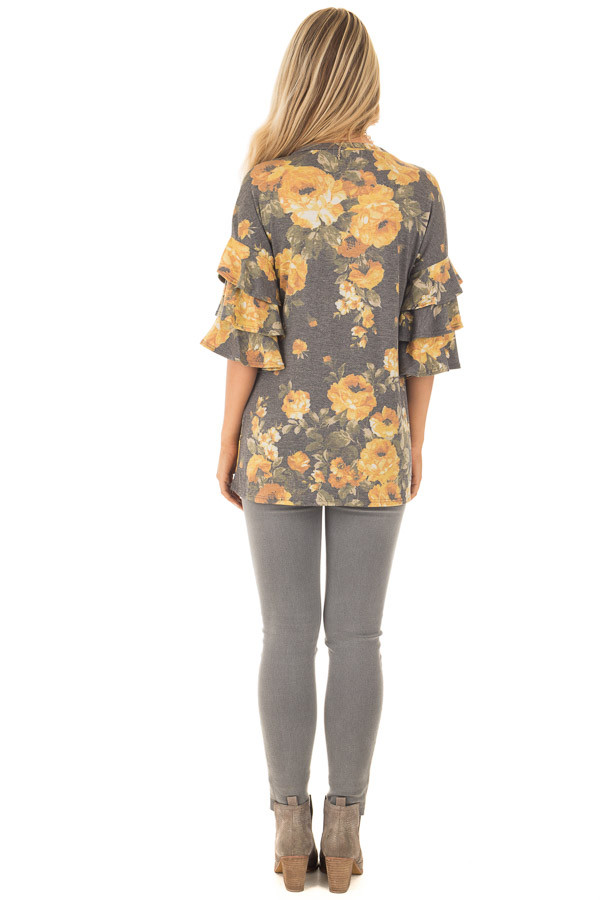 Charcoal and Mustard Floral Print Bell Sleeve Top back full body