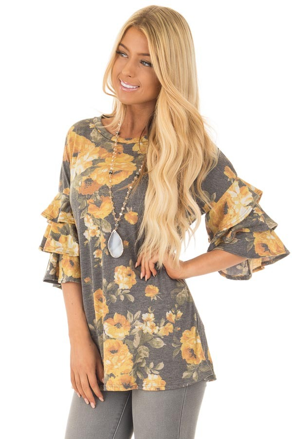 Charcoal and Mustard Floral Print Bell Sleeve Top front close up