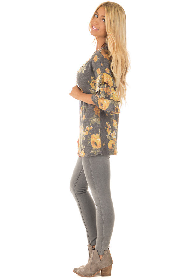 Charcoal and Mustard Floral Print Bell Sleeve Top side full body