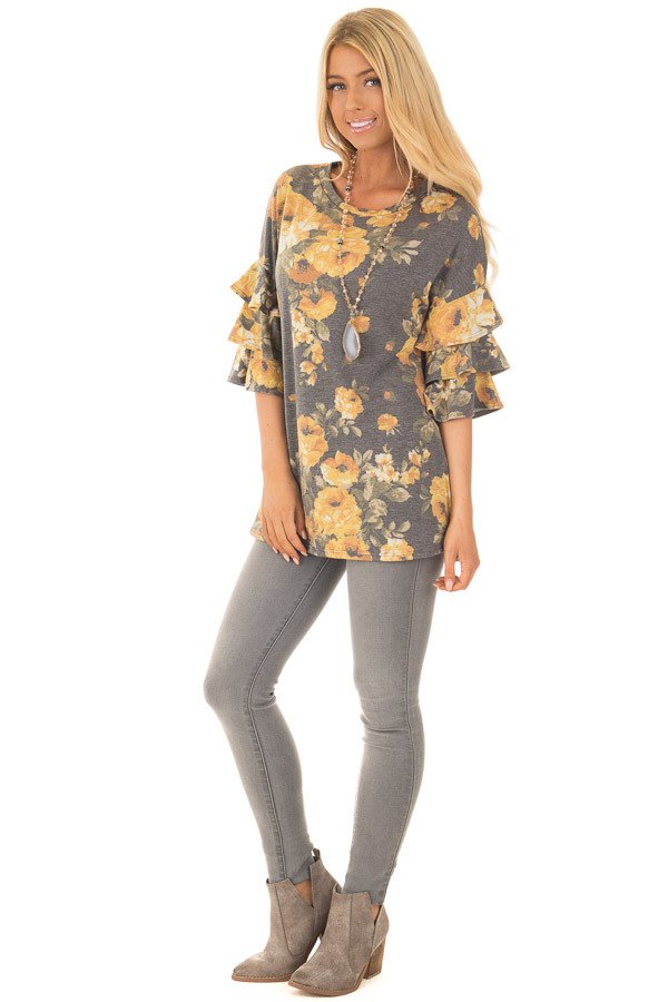 Charcoal and Mustard Floral Print Bell Sleeve Top front full body