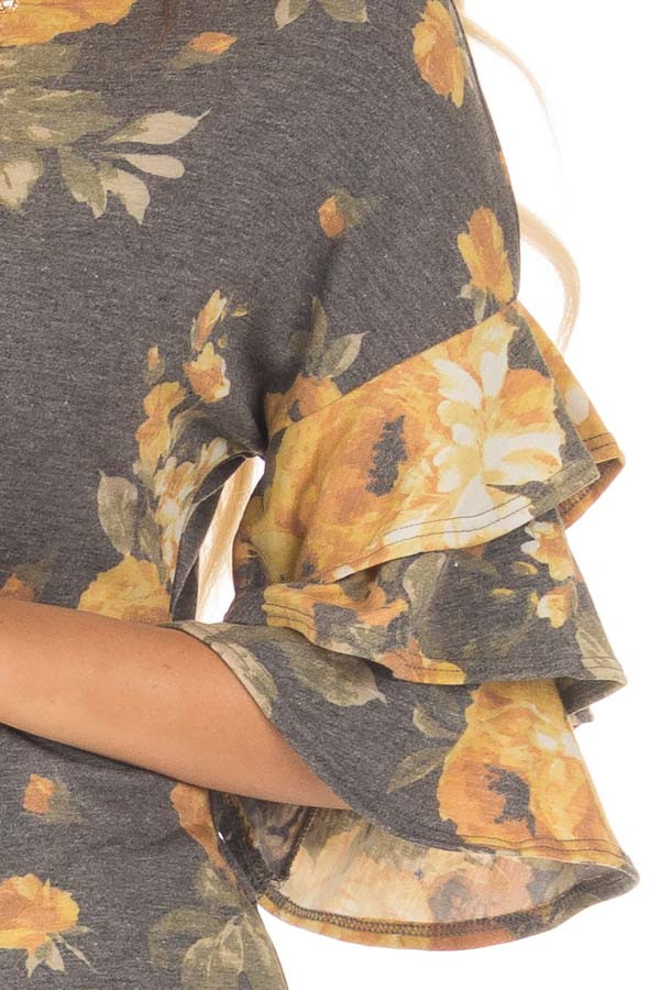 Charcoal and Mustard Floral Print Bell Sleeve Top detail
