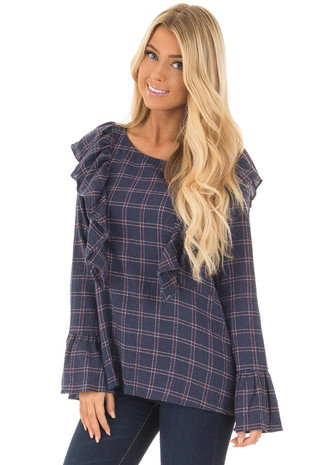 Navy Plaid Blouse with Ruffle Shoulders and Cuffs front close up