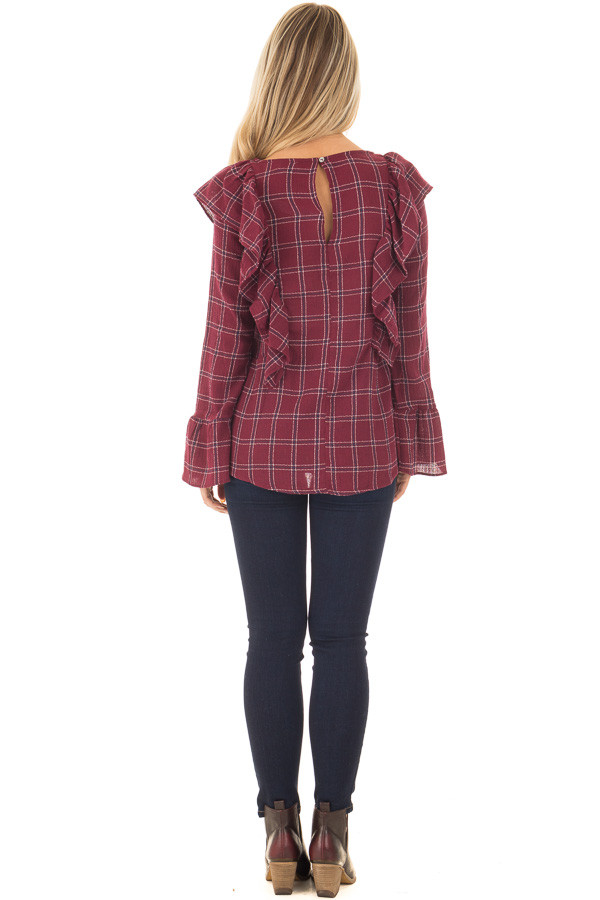 Burgundy Plaid Blouse with Ruffle Shoulders and Cuffs back full body