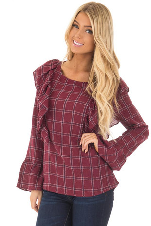 Burgundy Plaid Blouse with Ruffle Shoulders and Cuffs front close up