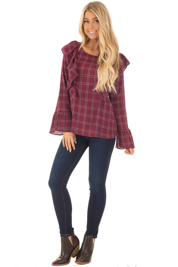 Burgundy Plaid Blouse with Ruffle Shoulders and Cuffs front full body