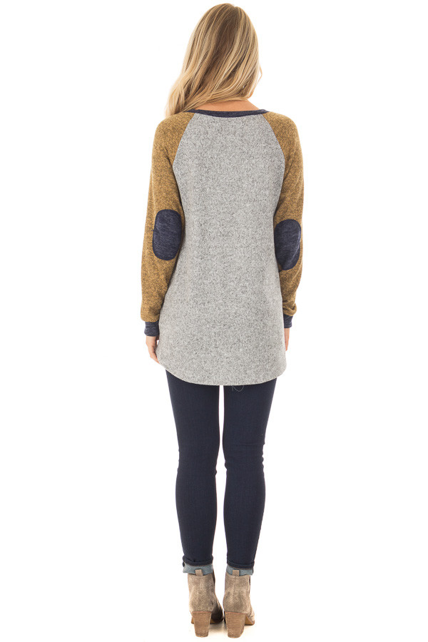 Heather Grey Long Sleeve Sweater with Elbow Patches back full body