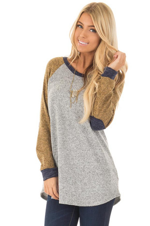 Heather Grey Long Sleeve Sweater with Elbow Patches front close up