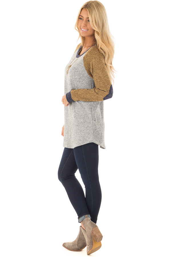 Heather Grey Long Sleeve Sweater with Elbow Patches side full body