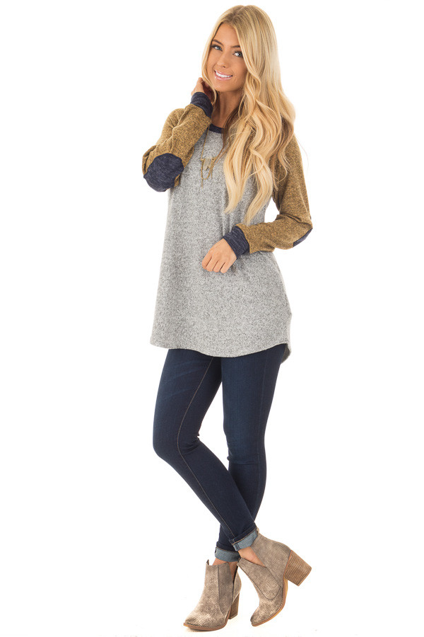 Heather Grey Long Sleeve Sweater with Elbow Patches front full body
