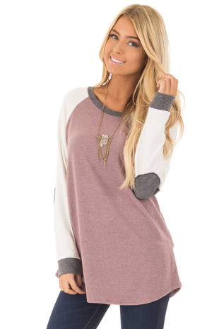 Mauve Long Sleeve Sweater with Elbow Patches front close up