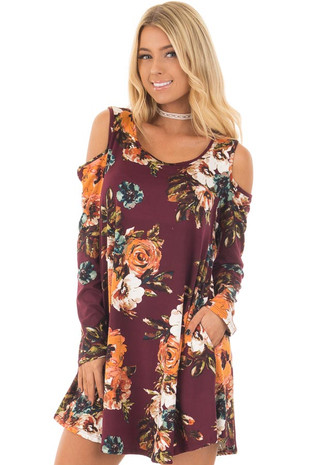Burgundy Floral Cold Shoulder Dress with Long Sleeves front close up