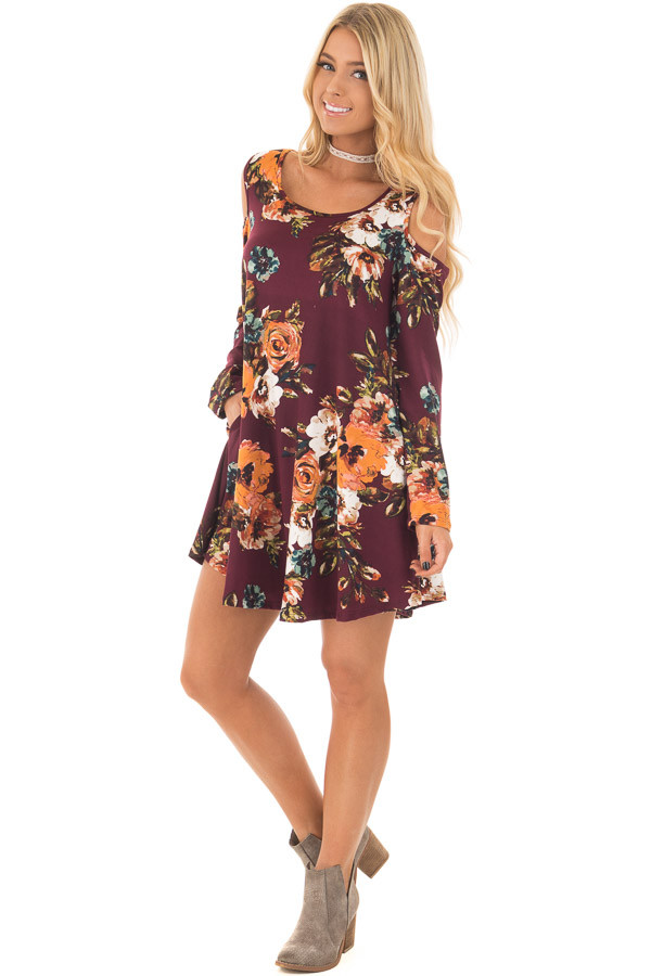 Burgundy Floral Cold Shoulder Dress with Long Sleeves front full body