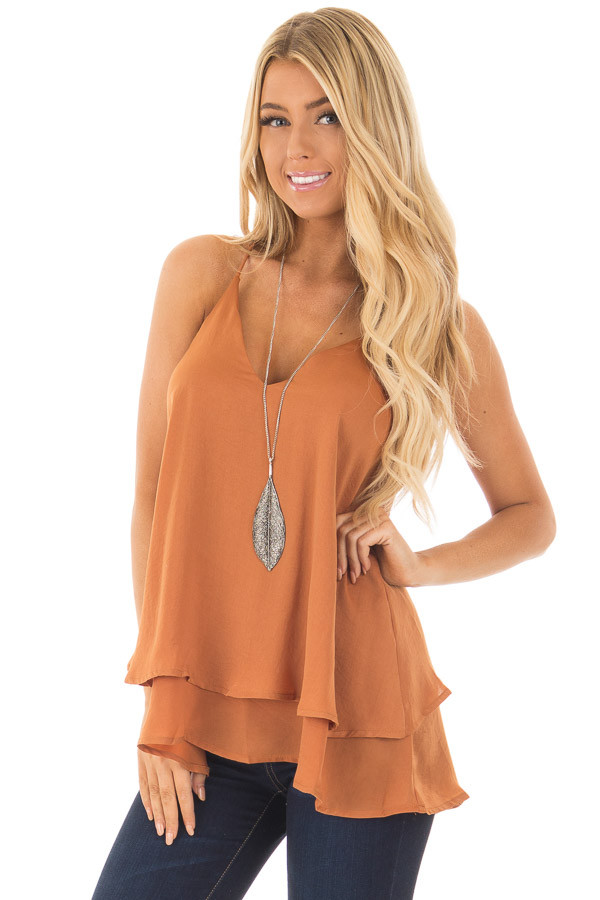 Carmel Silky Flowy Tank Top front close up
