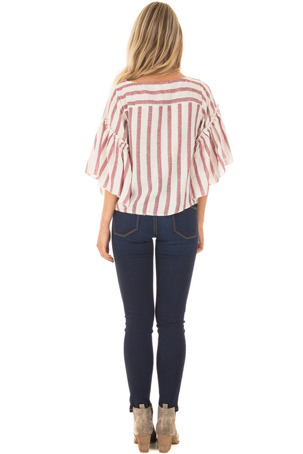 Rose Stripe Bell Sleeve Top back full body