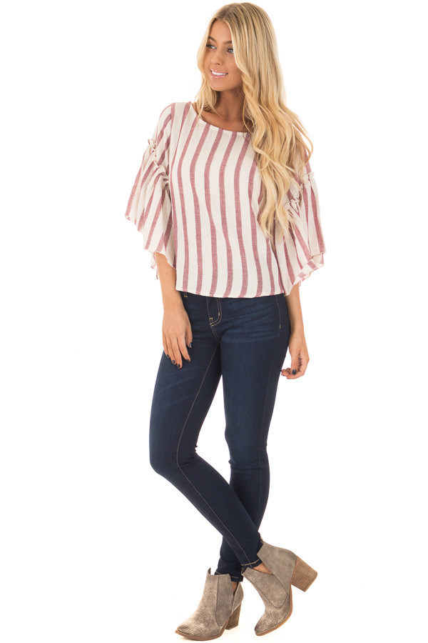 Rose Stripe Bell Sleeve Top front full body