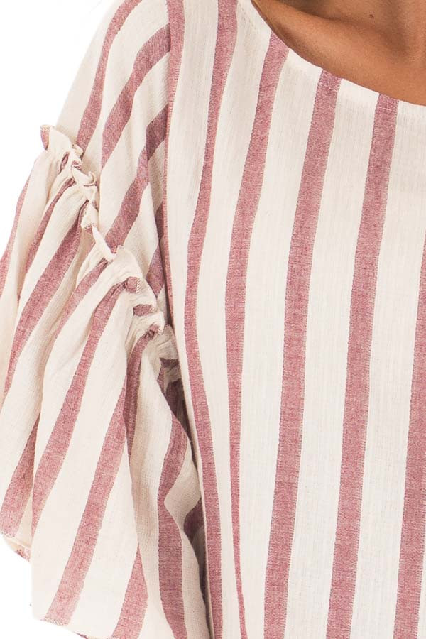 Rose Stripe Bell Sleeve Top detail