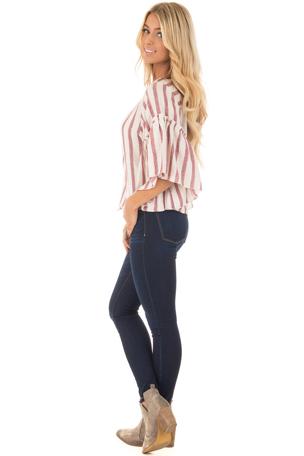 Rose Stripe Bell Sleeve Top side full body