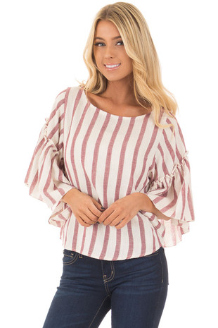 Rose Stripe Bell Sleeve Top front close up