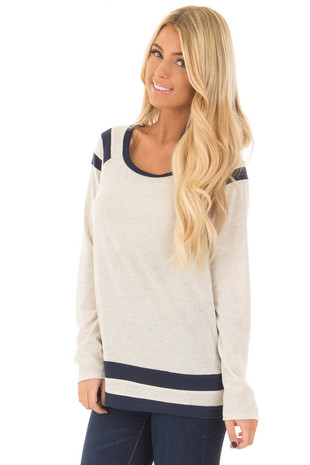 Oatmeal Long Sleeve Top with Navy Stripe Details front close up