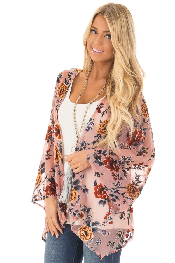 Dusty Pink Chiffon Kimono with Velvet Floral Print front close up