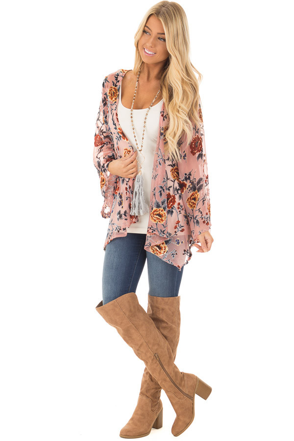 Dusty Pink Chiffon Kimono with Velvet Floral Print front full body