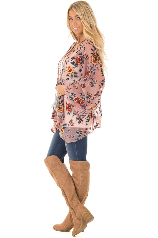 Dusty Pink Chiffon Kimono with Velvet Floral Print side full body