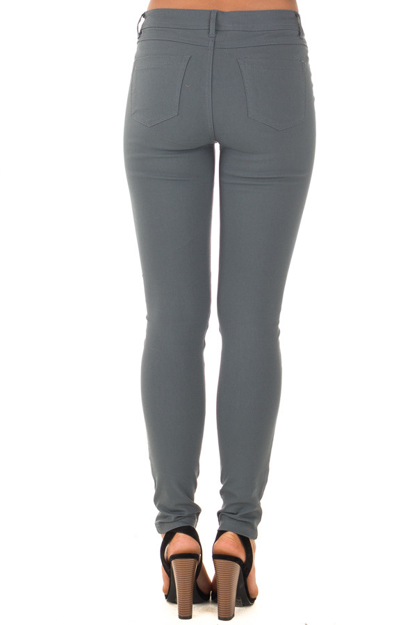 Charcoal Solid Colored Skinny Jeans back view