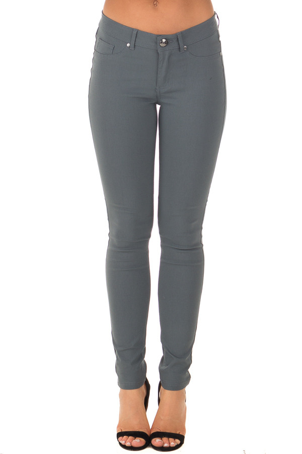 Charcoal Solid Colored Skinny Jeans front view