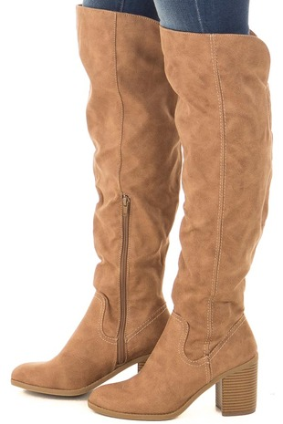 Sand Faux Leather Tall Heeled Boot with Stitched Accents side view