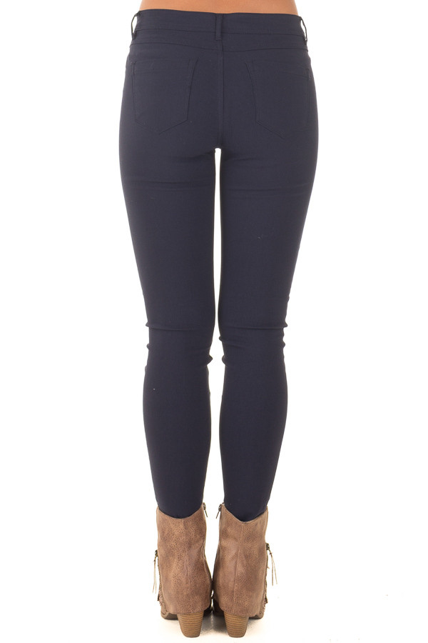 Navy Solid Colored Skinny Jeans back view