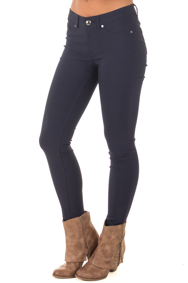 Navy Solid Colored Skinny Jeans front side view