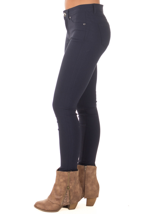 Navy Solid Colored Skinny Jeans side view