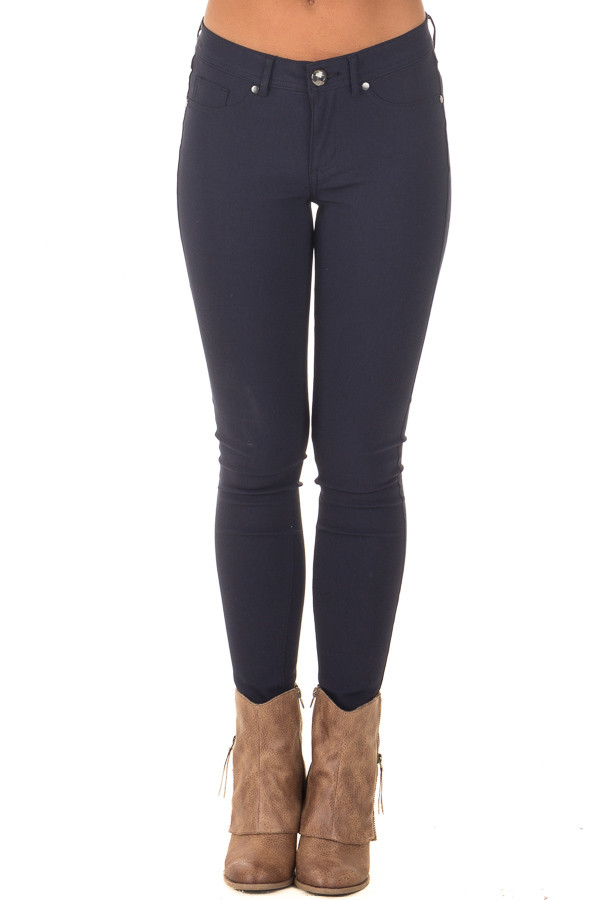 Navy Solid Colored Skinny Jeans front view