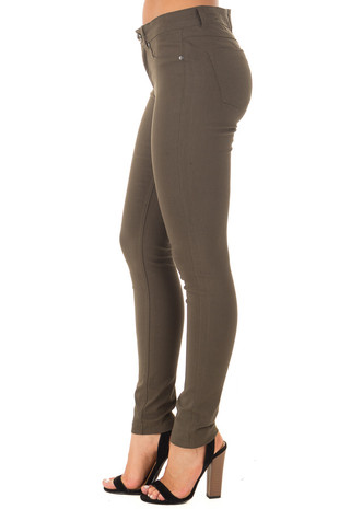 Olive Solid Colored Skinny Jeans side view