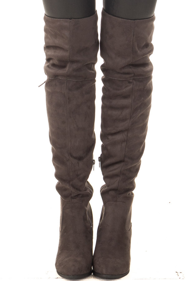 Charcoal Faux Suede Knee High Boots with Tie Back Detail front view