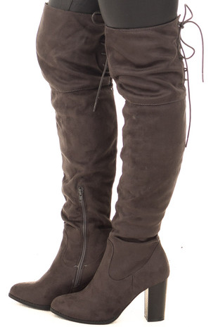 Charcoal Faux Suede Knee High Boots with Tie Back Detail side view