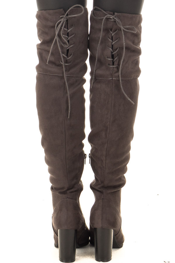 Charcoal Faux Suede Knee High Boots with Tie Back Detail back view