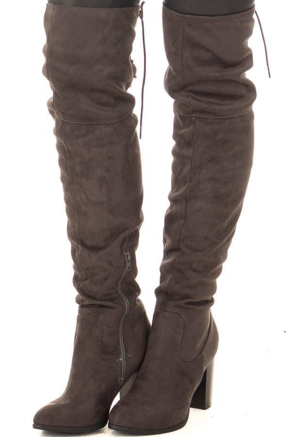 Charcoal Faux Suede Knee High Boots with Tie Back Detail front side view