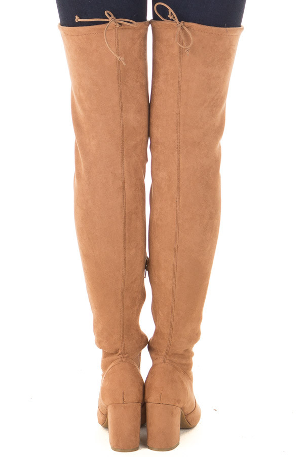 Camel Faux Suede Over the Knee Boot with Back Tie back view