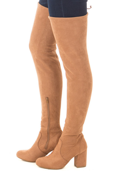 Camel Faux Suede Over the Knee Boot with Back Tie side view